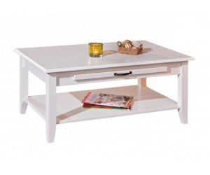 Table basse Pin massif blanc