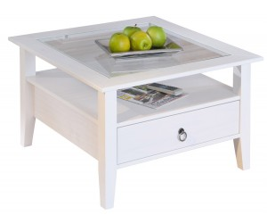 Table basse rustique en pin massif blanc