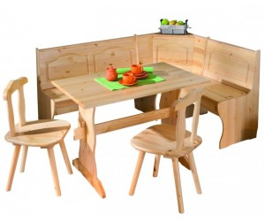 Coin repas d'angle avec table et chaises pin massif