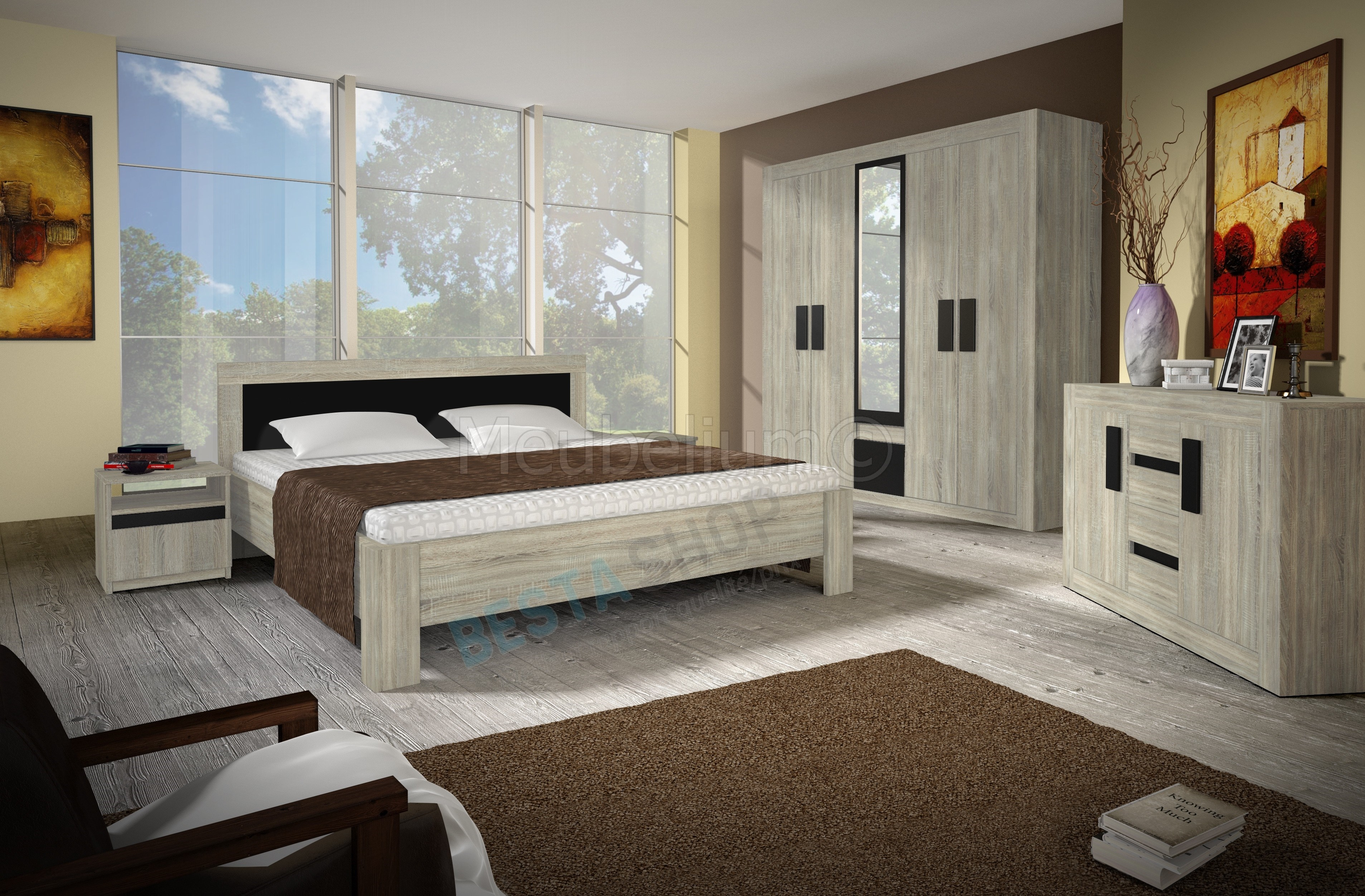 chambre adulte compl te contemporaine ch ne clair noir. Black Bedroom Furniture Sets. Home Design Ideas