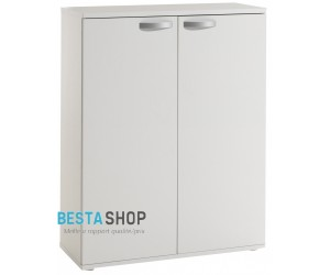 Armoire basse de bureau contemporaine coloris blanc OCTAVIA