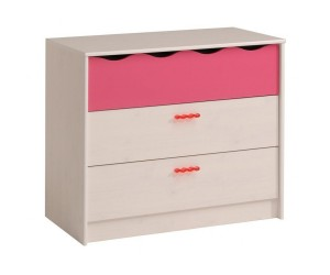 Commode enfant contemporaine 3 tiroirs pin memphis/framboise Lola