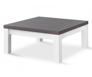 Table basse carrée design 100 cm blanc et gris laqué brillant MARTINEZ