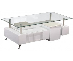 Table basse design avec 2 poufs CELIA
