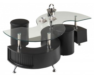 Table basse design forme S avec 2 poufs ELYANE