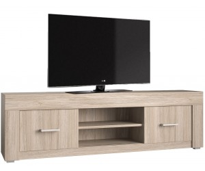 Meuble tv-hifi 140cm 2 portes et 2 niches chêne cérusé contemporaine LAMBERT