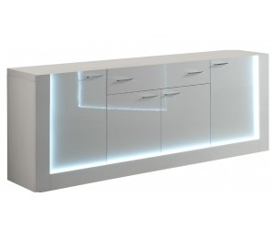 Bahut design laquée blanche aved led 100% italienne GALENA