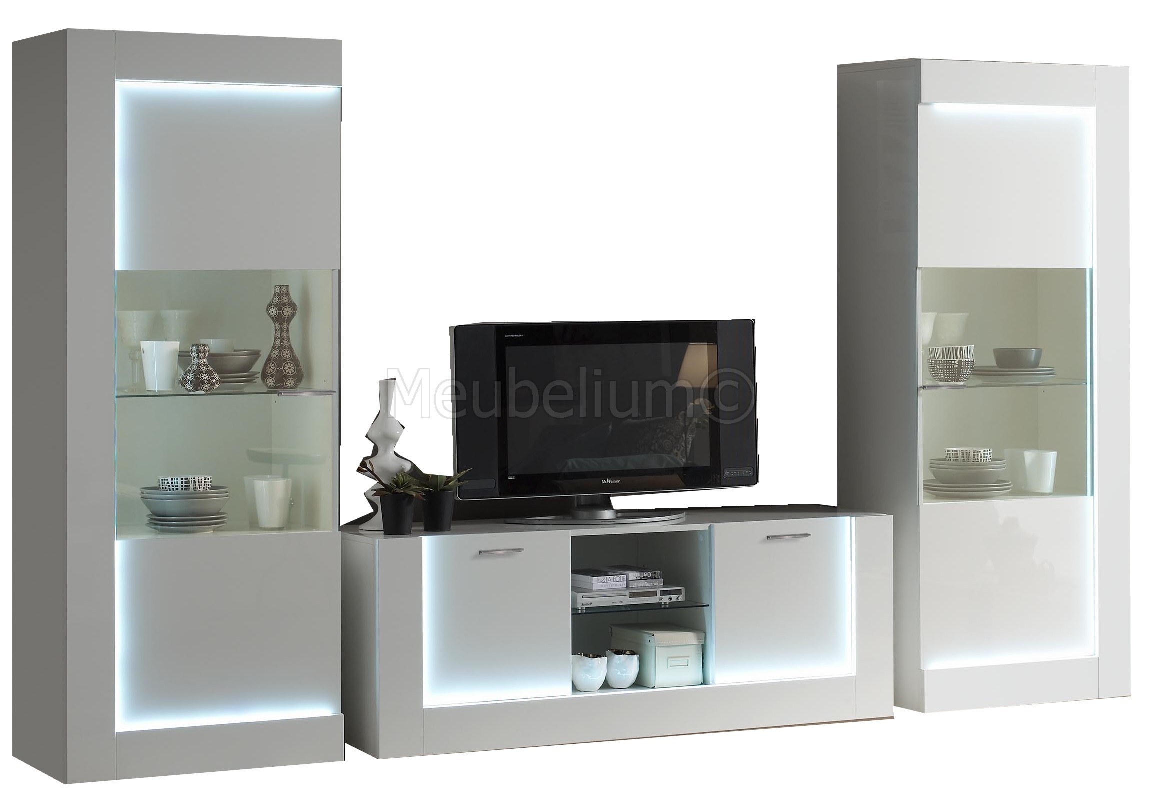 Ensemble Meuble Tv Mural Design Laquee Blanche Aved Led 100 Italienne Galena Pas Cher