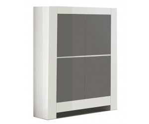 Bar armoire design laquée blanche et gris high gloss 100% fabrication italienne ultra brillant GWENDALINE-2
