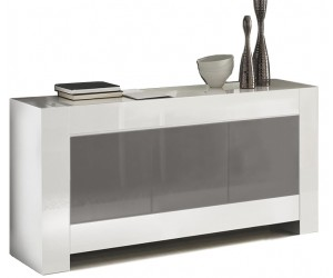 Bahut design laquée gris et blanche high gloss 100% fabrication italienne ultra brillant GWENDALINE-2
