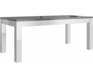 Table salle à manger 190 cm laquée gris et blanche high gloss 100% fabrication italienne ultra brillant GWENDALINE-2