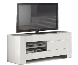 Meuble TV / Hifi 150cm laquée blanche high gloss 100% fabrication italienne ultra brillant GWENDALINE-1