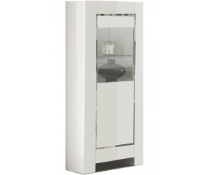 Vitrine 1 porte design laquée blanche high gloss 100% fabrication italienne ultra brillant GWENDALINE-3