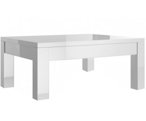 Table basse carrée laquée blanche high gloss 100% fabrication italienne ultra brillant GWENDALINE