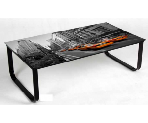 Table basse rectangulaire en verre RIETA