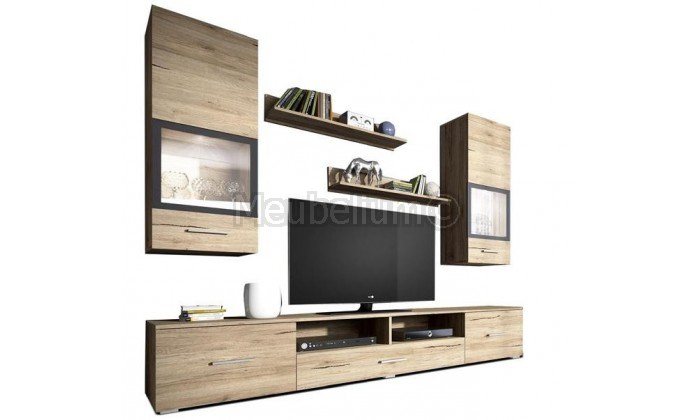 Ensemble mur tv-hifi 3 tiroirs ELINOR
