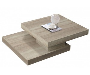 Table basse double plateau carré amovible LINEANCE